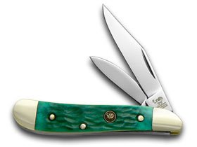 Hen and Rooster Green Pickbone Peanut Pocket Knife Knives