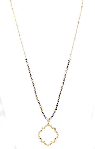 Grey and Gold Hollow Quatrefoil Pendant Beaded Long Necklace, 30