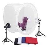 "Neewer 30""/76cm Photography Shooting Tent Kit, Including (2) 30 Watt 5000K Light Bulbs,(2) Studio Lights (1) 30""/76cm Studio Light Tent with (4) Backgrounds - Black/White/Dark Blue/Red by Neewer"