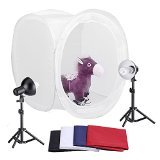 Neewer 30''/76cm Photography Shooting Tent Kit, Including (2) 45 Watt 5000K Light Bulbs,(2) Studio Lights (1) 30''/76cm Studio Light Tent with (4) Backgrounds - Black/White/Dark Blue/Red