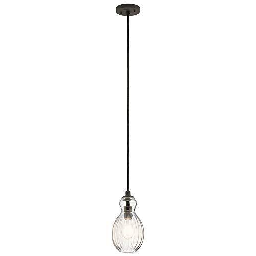 Kichler Lighting 43959oz Riviera – Oneライトミニペンダント、Olde Bronze Finish with Clearリブ編みガラス B078RS9SZ4