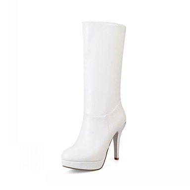 RTRY Zapatos De Mujer De Piel Sintética Pu Novedad Moda Otoño Invierno Confort Botas Botas Stiletto Talón Puntera Redonda Mid-Calf Botas Para Parte &Amp; Noche US10.5 / EU42 / UK8.5 / CN43