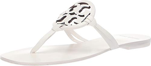 Burch Leather - Tory Burch Women's Square Toe Leather Miller Flip Flop, White (7)