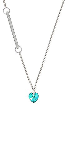 Teal Crystal Heart Custom Engraved Delicate Bar Necklace