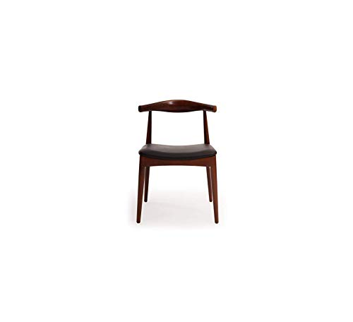 Furniture Style Elbow Dining Chair, Black Italian Leather/Ash Wood in Walnut Stain Home Office Commerial Heavy Duty Strong Décor (Chair Leather Dining Italian Black)