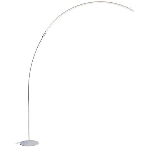 Floor Lamp Metal Lamp Light - Brightech – Sparq LED Arc Floor Lamp – Curved, Contemporary Minimalist Lighting Design – Warm White Light - Silver