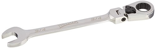 Williams 1224RCF 3/4-Inch Flex Head Reversible Ratcheting Comb Wrench, 12 Point
