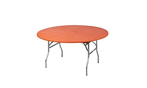Kwik-Covers 60 Round Fitted Plastic Table Covers, Bundle of 5 (Orange)