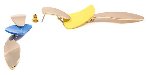 E Statement Oro Boutique Color Moderna Lungo In Orecchini Asimmetrici Happiness Giallo Arte Blu fw4qgFg