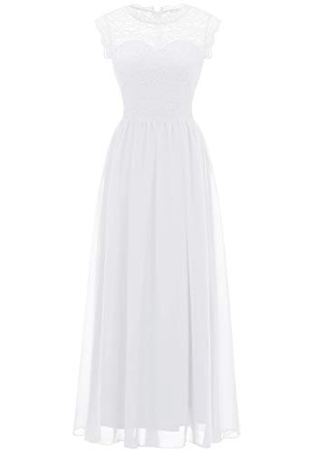 MUADRESS 6056 Women's Vintage Lace Chiffon Bridesmaid Formal Evening Party Maxi Dress White X-Large