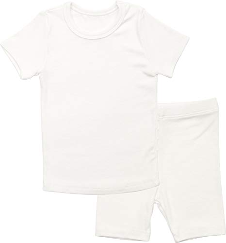 AVAUMA Newborn Baby Little Boys Snug-Fit Pajamas Summer Short Sets Pjs Kids Clothes (Medium / 2T, White)