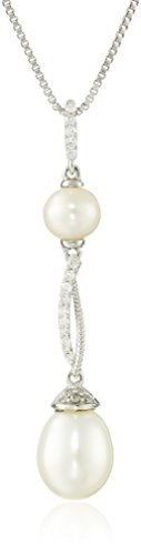 Sterling Silver Freshwater Cultured Pearl Drop Pendant Necklace (1 1/2cttw, I-J Color, I-J Clarity), 18