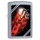 Zippo Skull and Flames Pocket Lighter, Street Chrome
