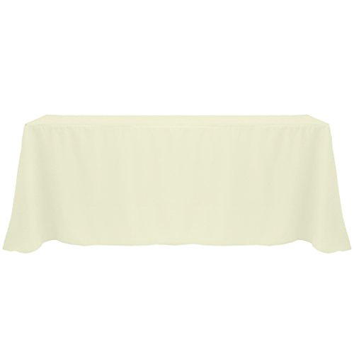Ultimate Textile (5 Pack) 90 x 132-Inch Rectangular Polyester Linen Tablecloth with Rounded Corners - for Wedding, Restaurant or Banquet use, Ivory Cream by Ultimate Textile