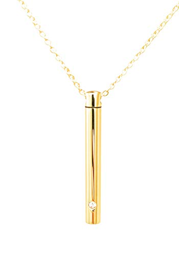 (Katie Collection Cremation Jewelry for Ashes Keepsake Minimalist bar with Necklace Chain in Yellow Gold Plated Stainless Steel with Cubic Zirconia)