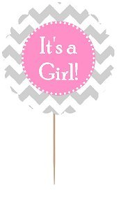 cakesupplyshop-item24454-12pack-its-a-girl-baby-shower-cupcake-decoration-toppers-picks-large-chevro