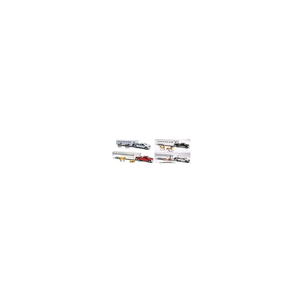 New Ray Toys AS10820 132 Scale Die Cast Ford/Dodge Fifth Wheel Truck Assortment with Animals (6 Each)