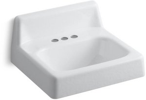 Kohler 2861-0 Cast Iron Wall Mounted Rectangular Bathroom Sink, 21 x 19.25 x 15.63 inches, White