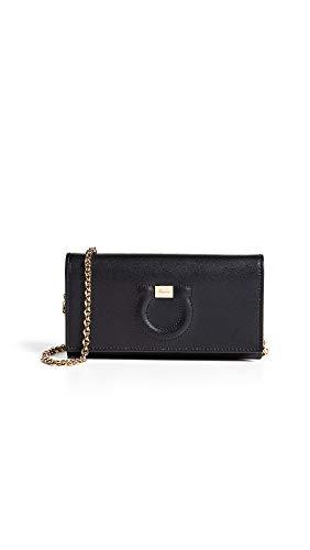 Salvatore Ferragamo Women's Gancio City Wallet on a Chain, Nero, Black, One Size from SALVATORE FERRAGAMO
