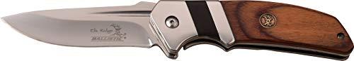 Elk Ridge ER-A167PW-MC ER-A167PW 3mm SW Blade Folder Knife, Brown Pakkawood, ()