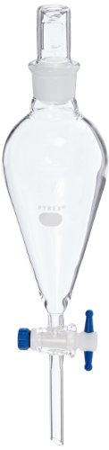 Corning Pyrex Borosilicate Glass Pear Shaped Squibb Separatory Funnel with Glass Standard Taper Stopper and PTFE Standard Stopcock, 125ml Capacity (Case of 4)
