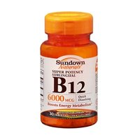 Sundown Naturals Super Potency Sublingual B-12 6000 mcg Tablets 30 Tablets (Pack of 6) by Sundown