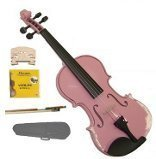 GRACE 1/4 Size Pink Acoustic Violin with Case and Bow+Rosin+2 Sets Strings+2 Bridges