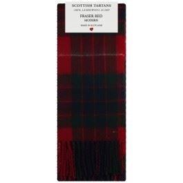 Fraser Red Modern Tartan Clan Fashion Scarf 100% Lambswool Made in Scotland 75669b7e3c3