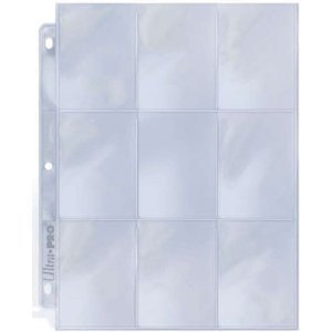 25 (Twenty Five) Single Ultra Pro 9-Pocket Coupon Pages - Nine Pockets Page (9 Top Load / Vertical Slots)