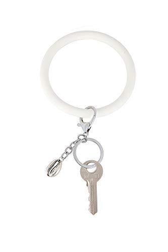 Coolcos Women & Kids Soft Big O Silicone Bracelet Keychain Circle Round Bangle Keyring Smooth & Flexible(Silicone White)