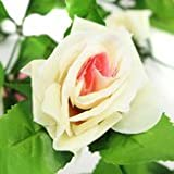 Bloom Wreath - 2pcs Artificial Plastic Rose Flower Vine Garland Home Garden Decoration - Flush Miscellany Heyday Efflorescence Lei Prime Coronal Blossom Chaplet Peak