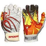 Spiderz Adult RAW Football Glove with Fire Palms (White/Red Hot, X-Small) ()