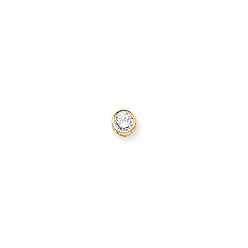 (Q Gold 14k 7mm Round Bezel Pendant Mounting Length Width)