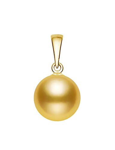 14k Yellow Gold AAAA Quality Golden Freshwater Cultured Pearl Pendant (12-13mm) (Necklace Fw Pearl Pendant)