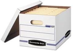 (6 Pack Value Bundle) FEL0070308 Stor/File Storage Box, Letter/Legal, Lift-off Lid, White/Blue, 4/Carton