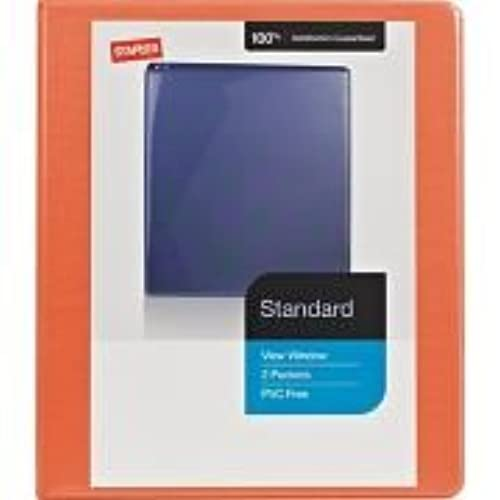 1 2 staples standard view binder with d rings bright orange 70 off