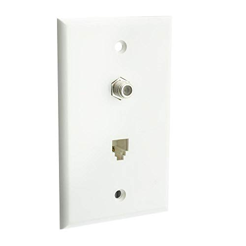 GOWOS Satellite Wall Plate, White, F-pin Connector and Telephone Jack