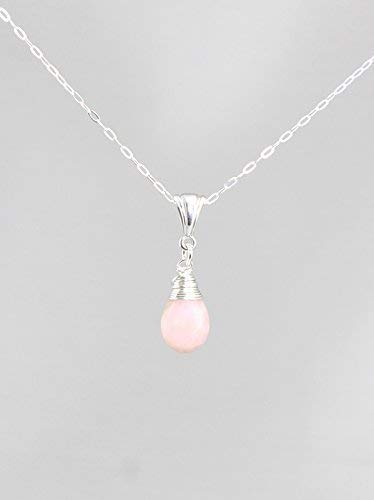Pink Peruvian Opal Gemstone Minimalist Pendant Necklace with Sterling Silver Chain - 18