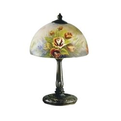 Dome Glass Table Lamp (Dale Tiffany 10057/610 Rose Dome Table Lamp, Antique Bronze and Glass Shade)