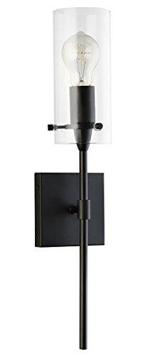 Effimero Vanity Light Fixture – Black w/ Clear Cylinder - Linea di Liara LL-WL31-BLK - Blk Wall Lantern