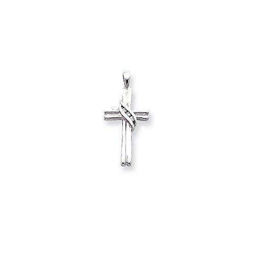 White Gold Aa Diamond Cross - 14k White Gold AA Diamond Cross Pendant, 14 kt White Gold