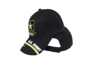 JumpingLight U.S. Army Star Logo Emblem Swirl Yellow Black Embroidered Baseball Cap Hat (RAM) for Home, Official Party, All Weather Indoors Outdoors -