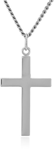 Men's Sterling Silver Solid Polished Cross with Lord's Prayer Inscription and Stainless Steel Chain, 24