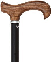 Ovangkol Derby Handle Walking Cane With Black Beechwood Shaft and Silver Collar by Royal Canes
