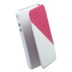 Anymode Echtleder Folio Two Tone Case (pink) für Apple iPhone 4S