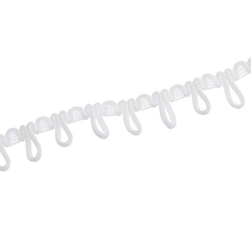 4 Yards Bridal Loop Elastic Lace Trim Corset Button Braid Cord Ribbon DIY Craft (Color - White)