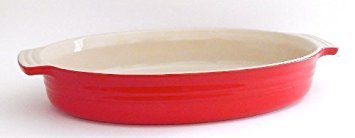 Le Creuset Poterie Stoneware Solid Chili Red Oval Baking Dish, 11 Inch