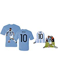 (Messi Jersey Style T-shirt Kids Argentina Lionel Messi Jersey T-shirt Gift Set Youth Sizes ✓ Premium Quality ✓ ✓ Soccer Backpack Gift Packaging (YM 8-10 Years Old, Messi))