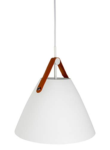 Hyperikon Pendant Light, 14-inch White Ceiling Light Fixture, Iron Cone with Leather Strap, Hardwired Modern Pendant Lamp, E26 One-Light Fixture, Residential, Kitchen, UL - No Bulb Included (Phoebe) ()