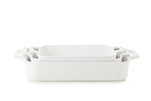 REVOL SET03BC001 Culinary Porcelain Rectangular Baking Dishes, Satin White by Revol